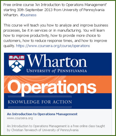 coursera operation management of a small Introduction to operations management is course 3 of 5 in the business foundations specialization in this specialization, you'll develop basic literacy in the language of business, which you can use to transition to a new career, start or improve your own small business, or apply to business school to continue your education.