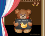 A duck in French word card with bear at MindZeit un canard
