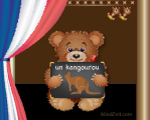 A kangaroo in French picture word card with bear at MindZeit un kangourou