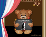 A penguin in French word card with bear at MindZeit un pingouin