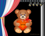 Love in French word card at MindZeit with Bear
