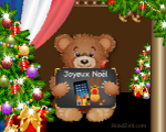 Merry Christmas in French word card with bear at MindZeit Joyeux No�l